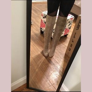 Tan suede OTK boots. Size 7